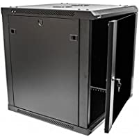 Navepoint 12U Deluxe IT Wallmount Cabinet Enclosure 19-Inch Server Network Rack With Locking Glass Door 24-Inches Deep Black