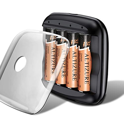 ALTIZURE 15 Minutes Full,20000 Cycles Rechargeable AA Battery (4 Pack) with Charger Rechargeable Lithium Ion Batteries