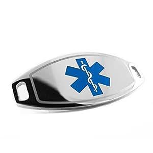 MyIDDr–PRE-ENGRAVED–Banda de regazo etiqueta de identificación de alerta médica, acoplable para pulsera, color azul símbolo