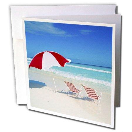 3dRose Caribbean Escape, Tropical Beach Scene - Greeting Cards, 6 x 6