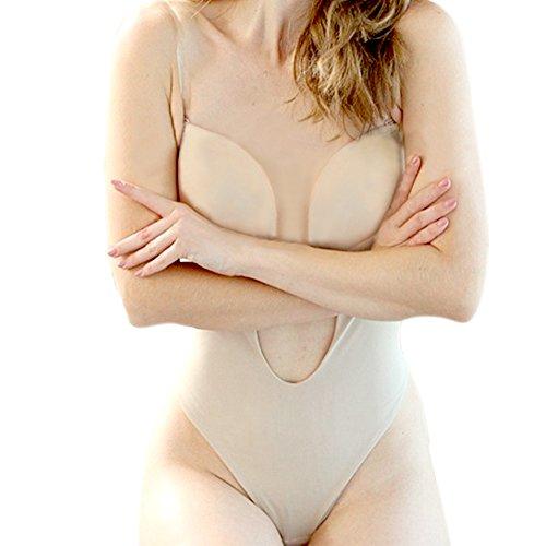 Defitshape Women's Backless Bodysuits U Plunge Seamless Thong Full Bodysuits Khaki 34 fit 34C/34D/36A/36B -