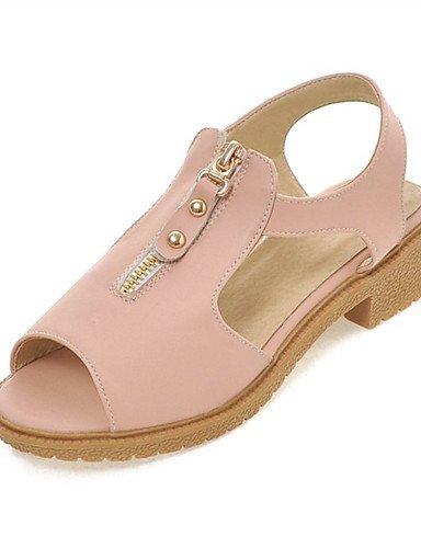 LFNLYX Zapatos de mujer-Tacón Robusto-Tacones / Punta Abierta-Sandalias-Exterior / Vestido / Casual / Fiesta y Noche-Semicuero-Azul / Rosa / Blue