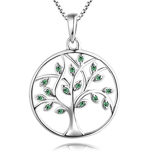 YL Tree of Life Necklace 925 Sterling Silver Gemstone Round Pendant Grenn Created Emerald Family Giving Jewelry ()