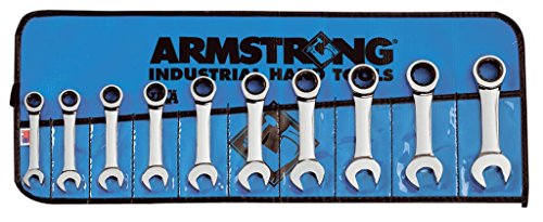 Armstrong 54-607 10 Piece 12 Point Full Polish Stubby Ratcheting Combination Wrench Set