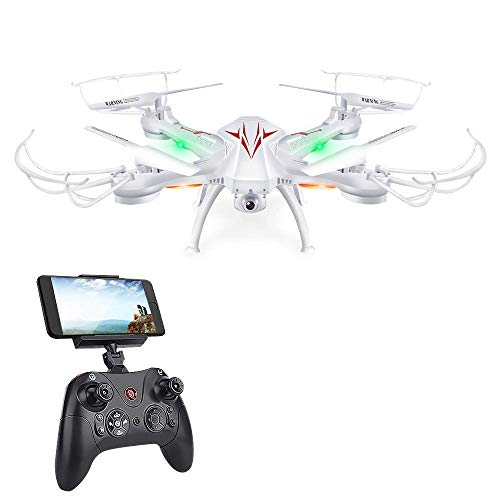K200 FPV RC Drones with Camera Live Video 720P HD Wi-Fi 4 Channel 2.4GHz 6-Axis Gyro Quadcopter for Beginners Kids Adults- Altitude Hold, One Key Start, Headless Mode, 3D Flips (White)