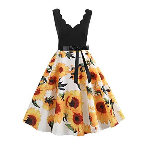 Mlide Wavy V-neck Flare Dress With Bow Belt,Women Vintage Print Fashion Dress,Sleeveless&Short Sleeve,Dot&Floral (White A,Large)