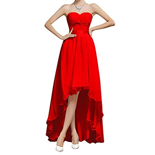 Bess Bridal Womens High Low Lace Up Chiffon Prom Bridesmaid Party Dresses US6 Red