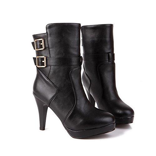 AmoonyFashion Womens Round Closed Toe High Heels Spikes Stilettos PU Solid Boots with Belt Buckle Black zg6bpT