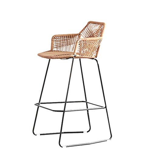 DERTHWER Bar Stool Retro Loft Chinese Style Wicker Chair Metal Chair Decoration Iron Art Backrest Chair Creative Industrial Style Bar Chair Hand Made Hand-Woven Bamboo Chair High Bar Stool ()