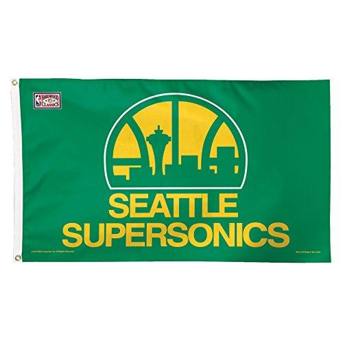 NBA Oklahoma City Thunder Hardwood Classic Retro Deluxe Flag, 3 x 5', (Hardwood Flagpole)