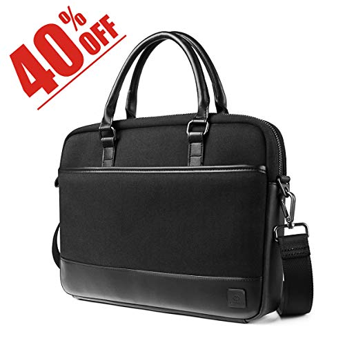 WIWU 15.6 Inch Laptop Shoulder Bag,Leather Messenger Bag Briefcase with Strap,Multi-compartment Waterproof Satchel Crossbody Bag Carrying Case for Business College Men Women Macbook Dell (Leather Multi Strap)