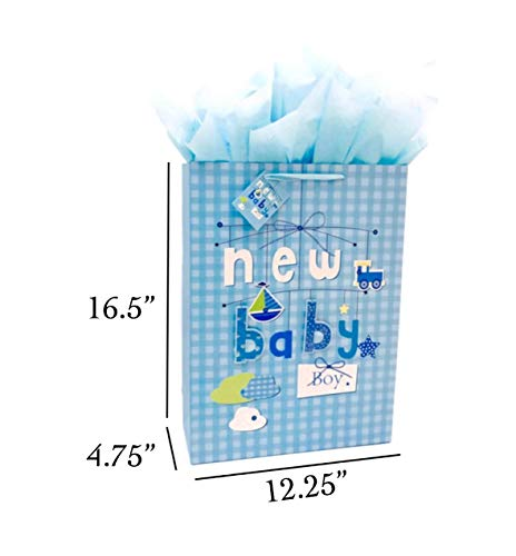 16.5″ Extra Large Baby Gift Bags with Tissue Papers for Baby Showers 2-Pack (Blue)
