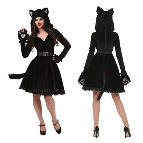 Halloween Adult Black Cat Costume for Men Women Cosplay Costumes Attached Cuddly Animal Costume Stage Performance Clothing (Women, -