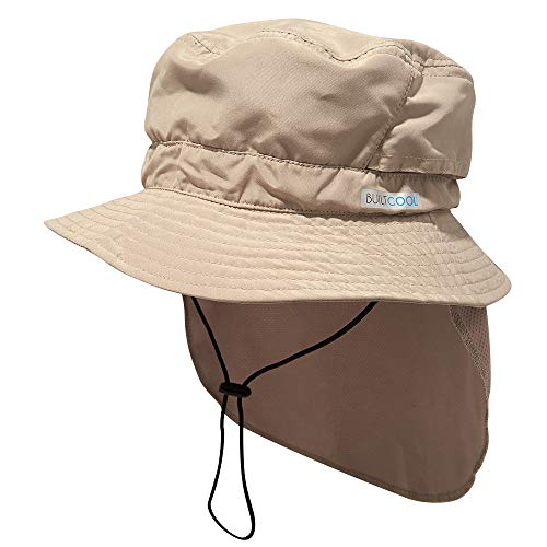 BUILTCOOL Adult Bucket Cap with Neck Shade - Boonie Hat, One Size, Khaki