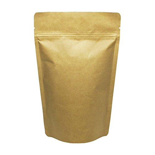1 Lb Foil Bag (Baking Addict Wholesale Foil Stand-Up Heat Sealable Resealable Zip Pouch Food Storage Packaging Bags with Tear Notch, 16 oz/1 lb, Kraft Paper, 100 Count)