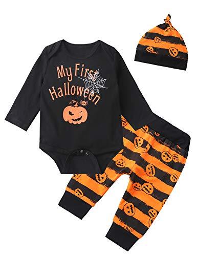 (3PCS Baby Boys' Outfit Set My First Halloween Pumpkin Costume Long Sleeve Romper ((12-18 Months), Black-01))