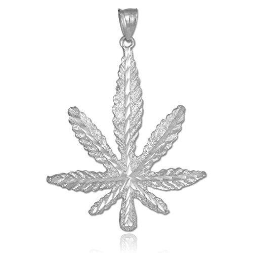 Petits Merveilles D'amour - Argent Feuille de Marijuana cannabis Collier Pendentif (Livré avec un 45 cm Chaîne)