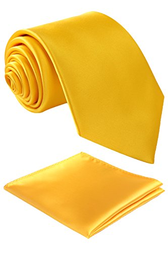 - Fortunatever Classical Men's Solid Necktie With Gift Box+Pocket Square (Golden Yellow)