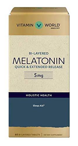 Bi-Layered MELATONIN Quick & Extended Release 5 mg 60 bi-Layered Tablets ()