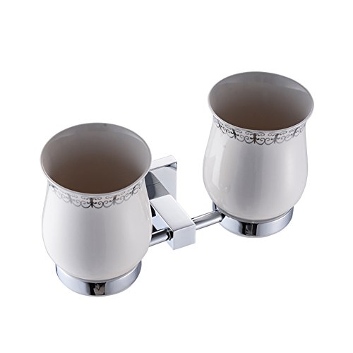 All copper dual cup holders mouthwash/Wall-mounted ceramic toothbrush cup/Bathroom Accessories