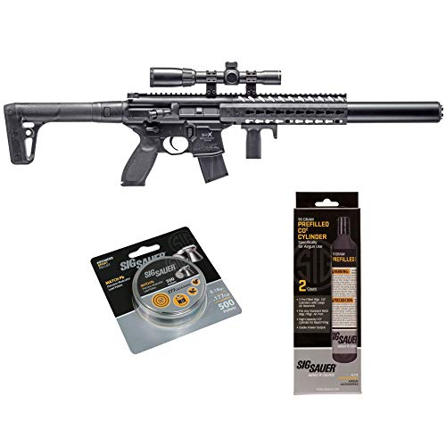 SIG Sauer MCX .177 Cal CO2 Powered Advanced Air Rifle with CO2 90 Gram (2 Pack) and 500 Lead Pellets Bundle (Black, 1-4x24 Scope) - Rifle Gas