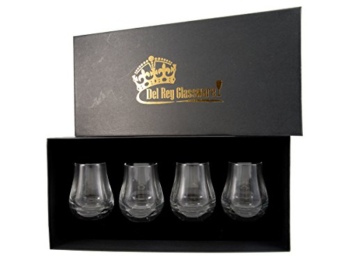 Whiskey-Nosing-Glass-set-of-4-TumblersRockers-Custom-Hand-blow-Round-Glass-Perfect-for-Assessing-and-Tasting-Spirits-95-oz-Presented-in-a-Designer-Classic-black-Gift-box