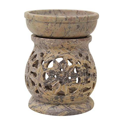 CRAFTSTRIBE Oil Burner Soapstone Diffuser Candle Holder Fragrance Ash Catcher