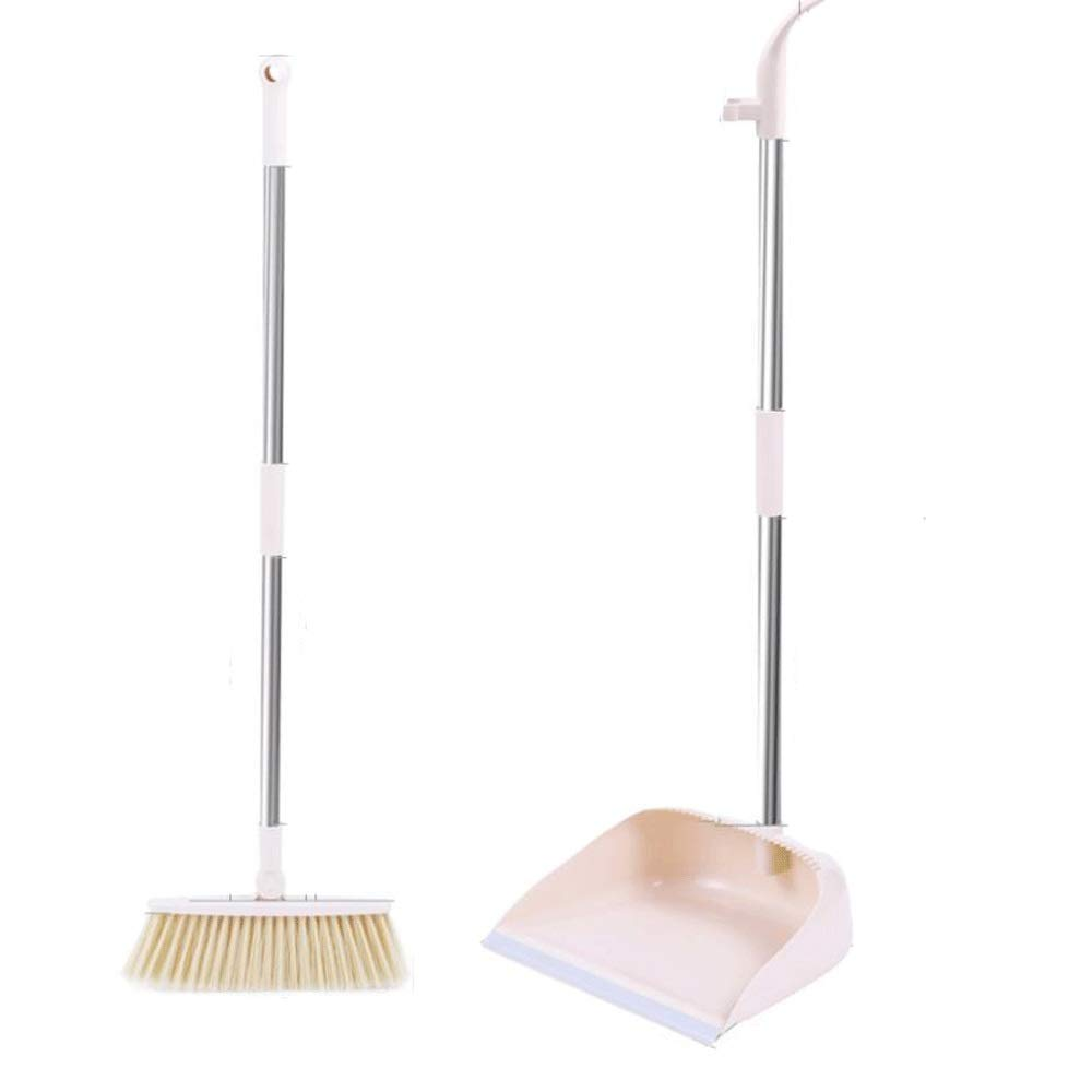 Non-stick Hair Plastic Broom And Dustpan Non-Slip Handle Windproof Natural Rubber Broom Set Used For Lobby Floor Toilet Garage (Color : Beige) by HBKJ3