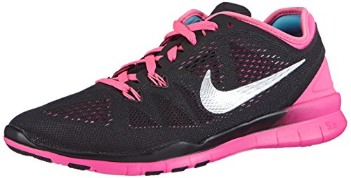 Nike Free 5.0 TR Fit 5 - Zapatillas de fitness para mujer Black/Metallic Silver-Pink Power-Fireberry
