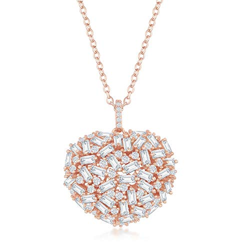 - Sterling Silver Rose Gold Rainbow and White Baguette Cubic Zirconia Solid Puffed Heart 16+2'' Necklace