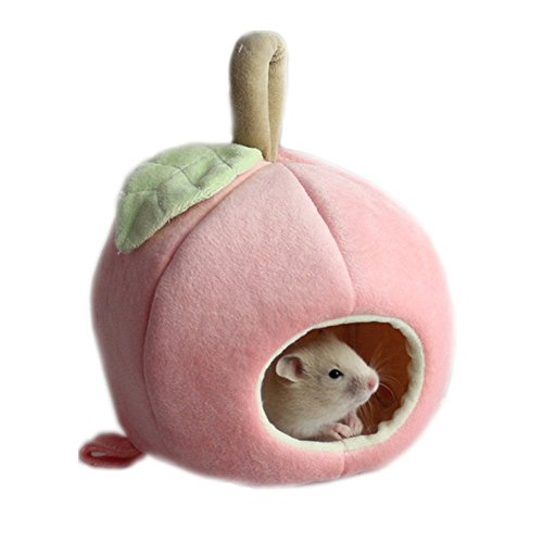 Mummumi Small Animals House Small Pet Hamster Hanging Bed House Hammock Cute Furit Winter Warm Fleece Guinea Pig Hedgehog Chinchilla Bed House Cage Nest Hamster Accessories (Pink)