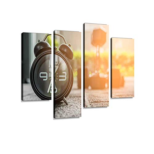 Alarm Clock in Fitness Room Canvas Wall Art Hanging Paintings Modern Artwork Abstract Picture Prints Home Decoration Gift Unique Designed Framed 4 Panel