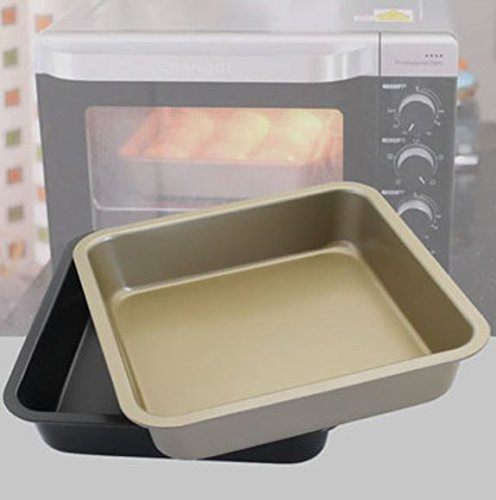 Color:Gold # KC-OP02 8 Inches Stainless Steel Nonstick Square Pizza Cake Mold Bread Cookie Tray Oven Pan by advanced (Gold)
