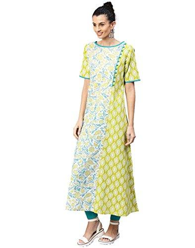 - Jaipur Kurti Women Indian Casual Floral Tunic Top A-Line Cotton Kurta (Green)