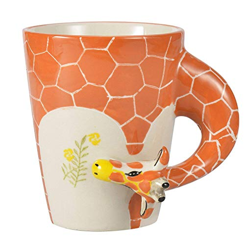 3D Hand-painted Cute Animals Mug,Ceramic Coffee Mug,Novelty Gift Cup (13.66oz) (Giraffe) ()