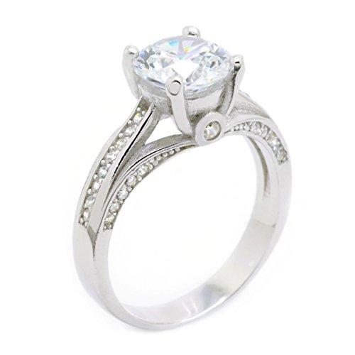 Sparkly Bride Round CZ Bezel Accent 925 Sterling Silver Rhodium Plated Engagement Ring size 6 (Ring 925 Silver Side Accented)