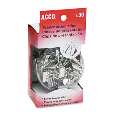 ACCO Binder Clips, Assorted Sizes, 30 Clips / Tub, Silver (Acco Plastic Labels)