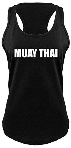 Cotton Ladies Shirts Thai - Ladies Racerback Tank Muay Thai Gym Workout Shirt Black M