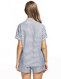 Ekouaer Pajamas Women Short Sleepwear Sets Lightweight Viscose Nightwear (Blue, Medium)