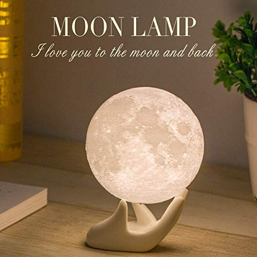 Balkwan Moon Lamp 3D Printing 3.5 inches Moon Light Dimmable with Touch Control, Rechargeable Lunar Light Home Decorative Night Light for Romantic Gift (3.5IN with Ceramic Base)…