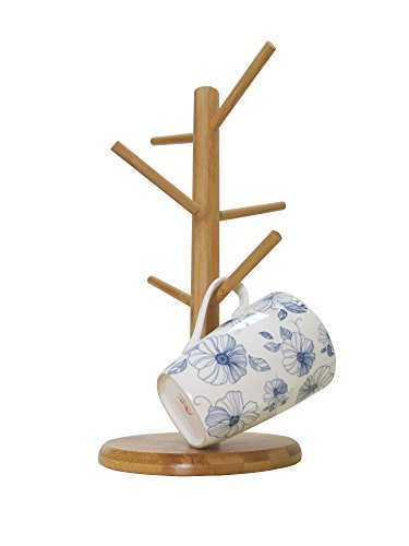 Bamboo Mug Tree Rack Stand with 6 Storage Hooks, Hold and Dry Large Coffee Mugs or Cups