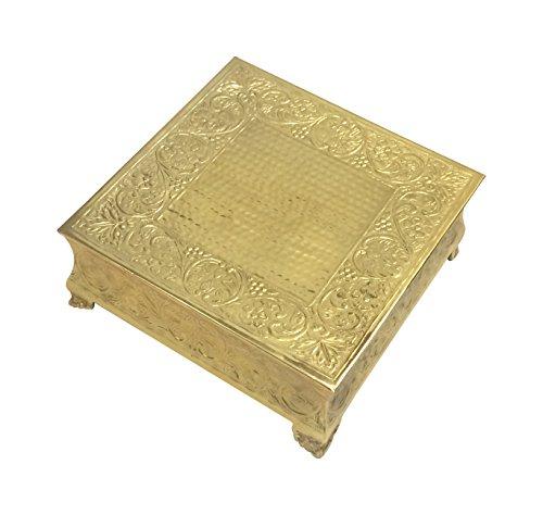 GiftBay Wedding Cake Stand Square 14-Inch,Aluminum Gold