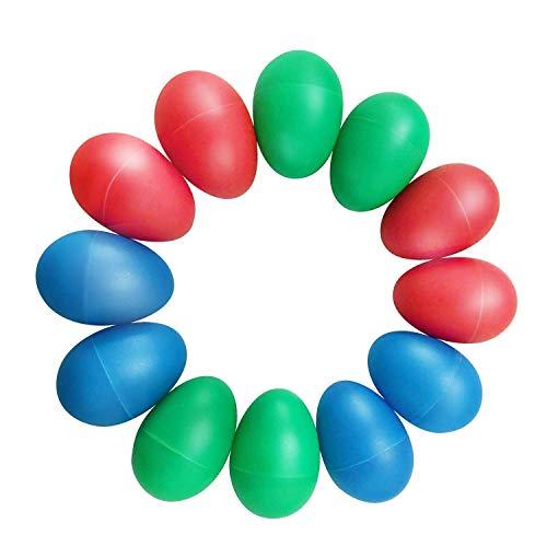 TSLIKANDO(TM) 12pcs Playful Plastic Percussion Musical Egg Maracas Egg Shakers Kids Toys- 3 Different Colors