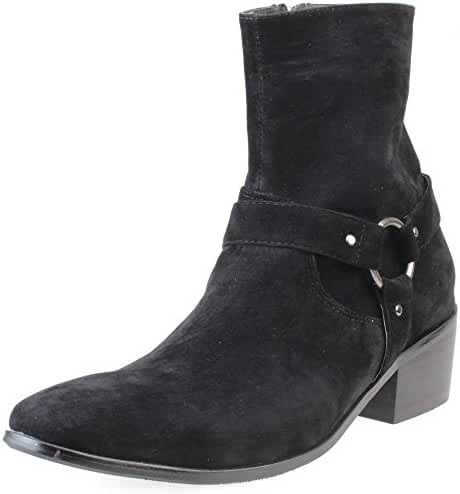 AN Mens Harness Boots Ankle Boots Pull On Suede Buckle Jodphur Side Gore Chelsea Side Zip Black Brown