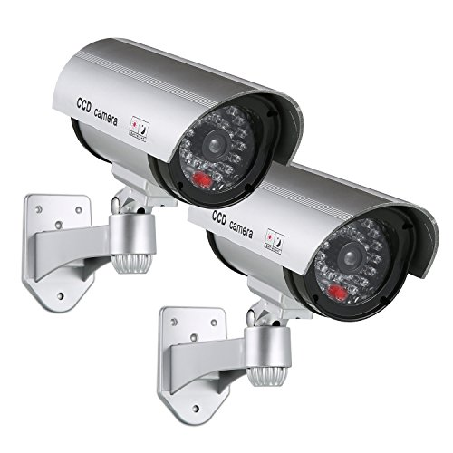 SANNCE Solar Powered Dummy Surveillance Bullet Fake CCTV Camera With Flashing Led-Grey Battery Recharged by Sun, Home or Business(Pack of 2) by SANNCE