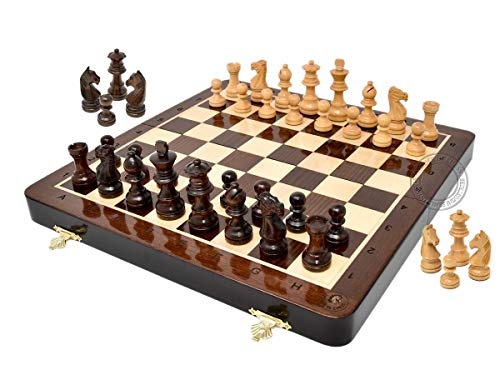 - House of Chess - 12 Inches Wooden Magnetic Folding Travel Chess Set / Board - 2 Extra Knights, 2 Extra Pawns, 2 Extra Queens & Algebraic Notation - Handmade - Premium Quality