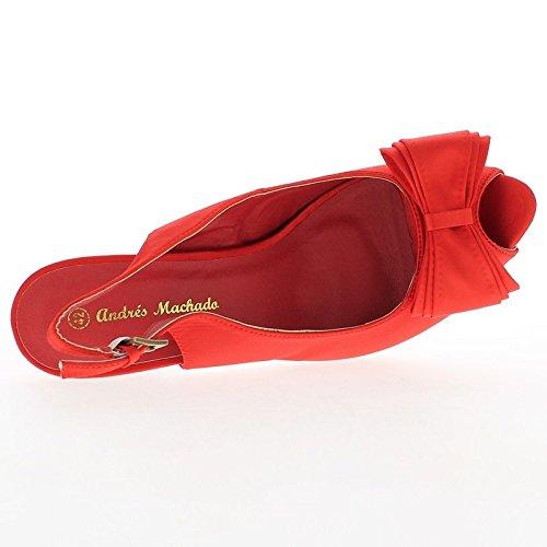 Grande tacco di 14cm dimensione di sandali in raso rosso e piattaforma con nodo