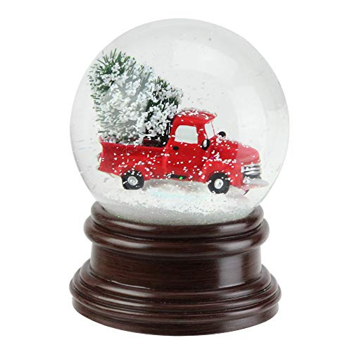 Vintage Red Pick Up Truck Tree 5 Inch Resin Holiday Water Snow Globe from Napco