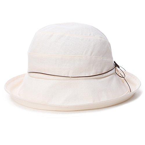 Womens UPF 50+ Cotton Linen Packable Bucket Sun Hats Wide Brim Sunhat with Chin Cord Summer Beige Small Siggi