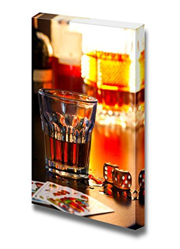 Still Life Glass of Whiskey with Dice and Playing Cards Wall Decor